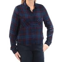 Womens Blue Red Plaid Cuffed Collared Hi-Lo Top  Size  L