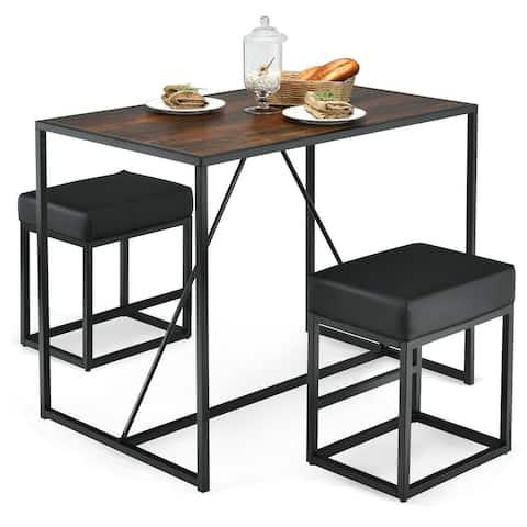 3 Pcs Dining Set Metal Frame Kitchen Table and 2 Stools-Brown - 38x 23x 29 (L x W x L)