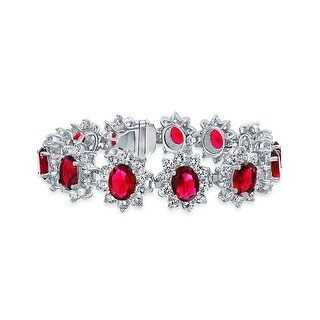 Bling Jewelry Red CZ Crown Set Tennis Bracelet Rhodium Plated
