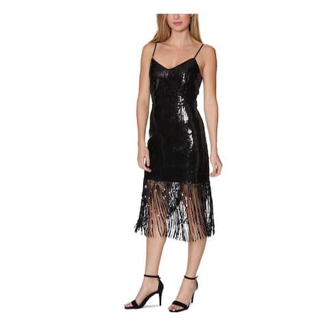 LAUNDRY Black Spaghetti Strap Midi Dress 0