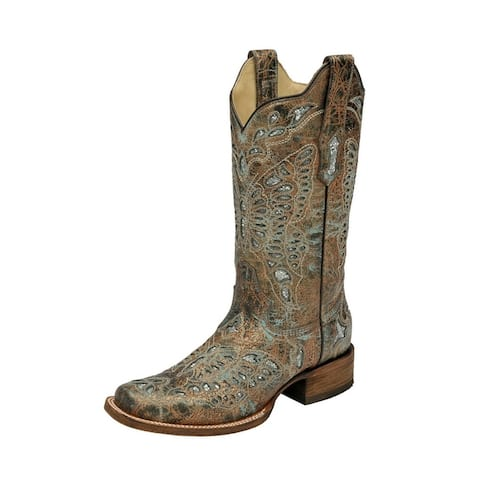 """Corral Western Boots Womens 11"""" Butterfly Stitch Glitter Inlay"""