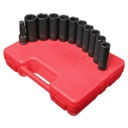 Sunex SUN2611 .50in. Drive SAE and Metric Extra Thin Wall Deep Impact Socket Set - 11 Pieces