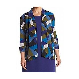 Kasper NEW Blue Women's Size 20W Plus Printed Open-Front Seamed Jacket