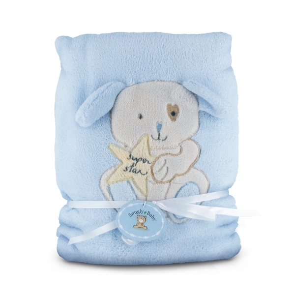 Snugly Baby Blue Fleece Baby Blanket w/ Puppy - 30.0 in. x 40.0 in.