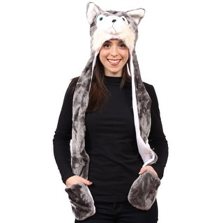 3-in-1 Animal Cold Weather Winter Hat Scarf with Hand Warmers, Husky Wolf