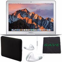 "Apple 13.3"" MacBook Air 128GB SSD #MQD32LL/A + White Wired Earbuds Headphones + Padded Case For Macbook + Fibercloth Bundle"
