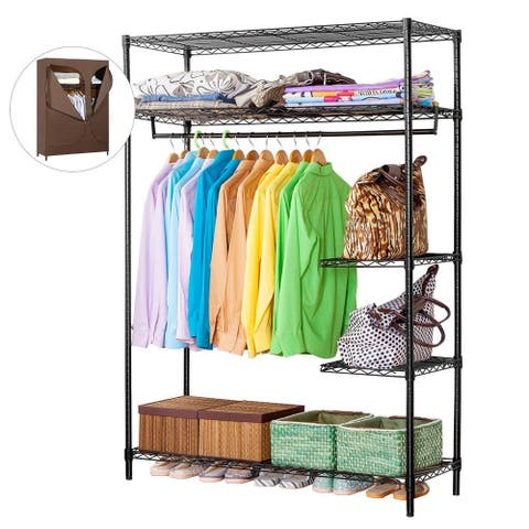 LANGRIA Heavy Duty 420lbs Wire Shelving Garment Rack Clothes Closet Wardrobe Storage Organizer with Brown Cloth Cover
