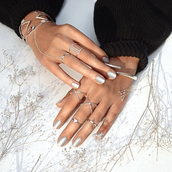 925 Sterling Silver Stacked Ring Boho Stackable Ring Adjustable Open Ring Band