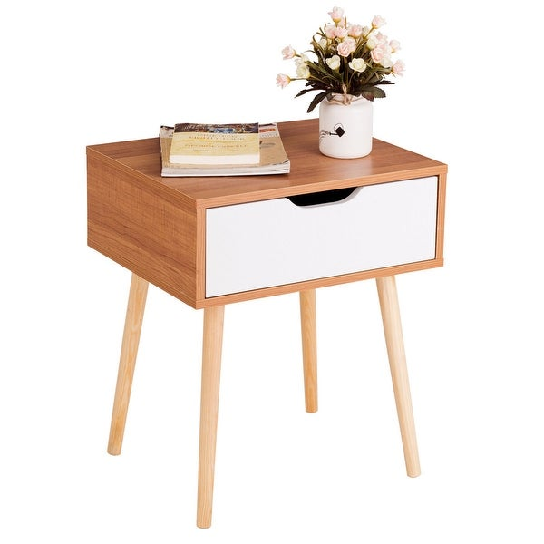 Light Walnut Wood Caleb Accent Table: Shop Costway Nightstand End Side Sofa Table Storage Drawer