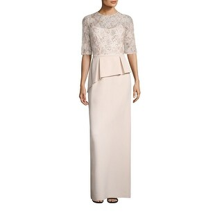 Teri Jon Embellished Lace Asymmetric Peplum Long Dress Gown (3 options available)