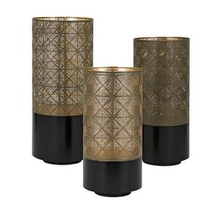 IMAX Home 14318-3  Manhattan 3 Piece Iron Pillar Lantern Candle Holder Set - Gold