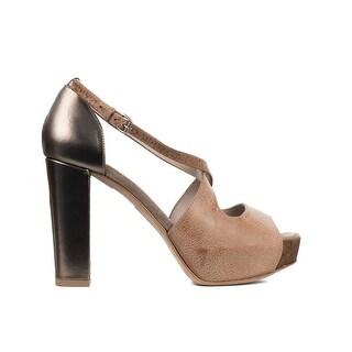 Brunello Cucinelli Womens Leather Brown Cross Strap Pumps