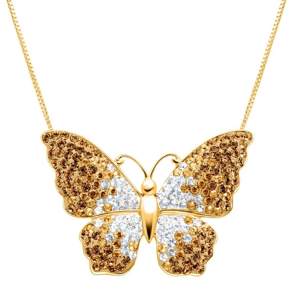Crystaluxe Butterfly Pendant with Swarovski Crystals in 18K Gold-Plated Sterling Silver - champagne