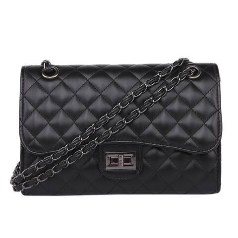 QZUnique Women's PU Leather Handbag Metal Chain Handbag Clutch Bag Lattice Crossboday Bag