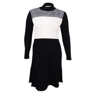 Calvin Klein Women's Plus Size Colorblocked Sweater Dress (0X, Black) - 0X