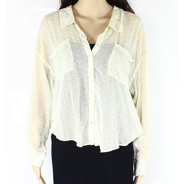 8461b0a4 Shop Free People NEW Yellow Womens Size Small S Sheer Button Down Shirt -  Free Shipping On Orders Over $45 - Overstock - 19472977
