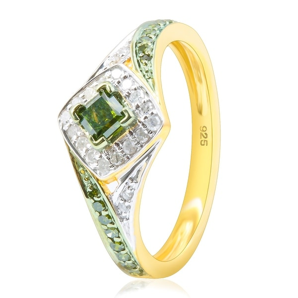 Prism Jewel 0.52CT Princess and Round Shaped Green Diamond with Diamond Engagement Ring - White I-J