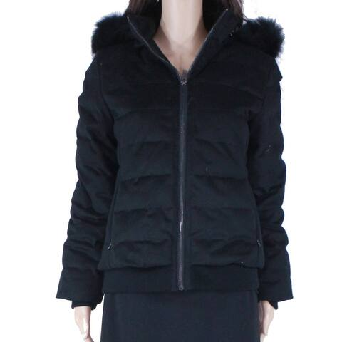 Ugg Womens Puffer Jacket Black Size Small S Hooded Full Zip Fur Collar