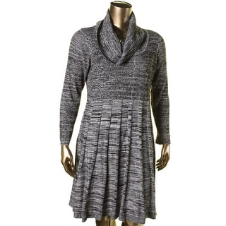 Calvin Klein Womens Plus Cowl Neck Long Sleeves Casual Dress