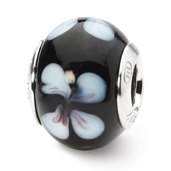 Italian Sterling Silver Reflections Black/White Flower Murano Bead (4mm Diameter Hole)