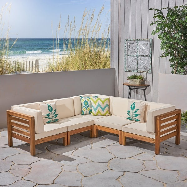 Oana Outdoor 5-seat V-shaped Acacia Sectional Sofa Set by Christopher Knight Home. Opens flyout.