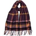 Winter or Fall Cold Weather Irish Plaid Long Cashmere Feel Scarf, Purple - Thumbnail 0