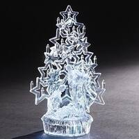 "10"" Clear LED Lighted Holy Family with Starry Christmas Tree Tabletop Figure"