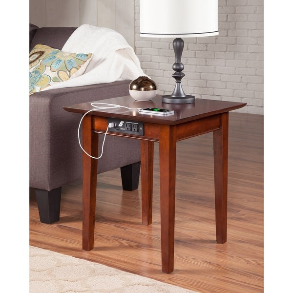 Shaker End Table with Charging Station in Walnut. Opens flyout.