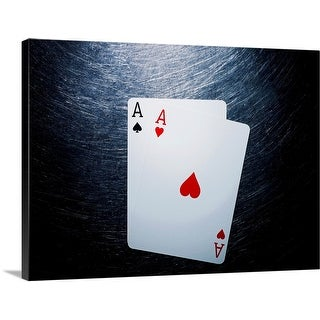 """""""Two Aces Playing Cards on Stainless Steel."""" Canvas Wall Art"""