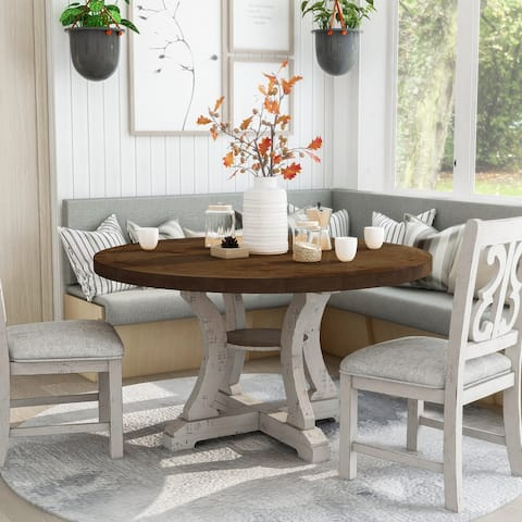 Furniture of America Sylmer Farmhouse Round Dining Table