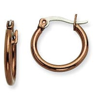 Chisel Stainless Steel Brown IP 15.5mm Hoop Earrings