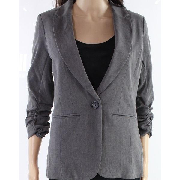 93bbe4b01581 Shop XOXO Heather Gray Womens Size Medium M One Button Blazer Jacket - On  Sale - Free Shipping On Orders Over  45 - Overstock - 27030846
