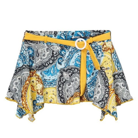 Azul Girls Yellow Blue Paisley Print Sash Adorned Urban Boho Skirt