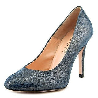 Anna F. Flaviana Women  Round Toe Leather Blue Heels