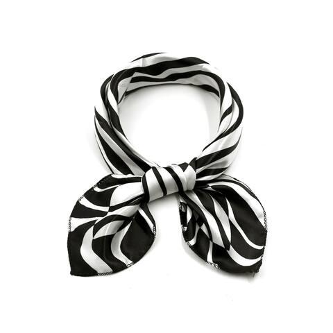 "Women Square Shaped Zebra Prints Casual Scarf Black White - Black White Zebra - 20"" x 20"""