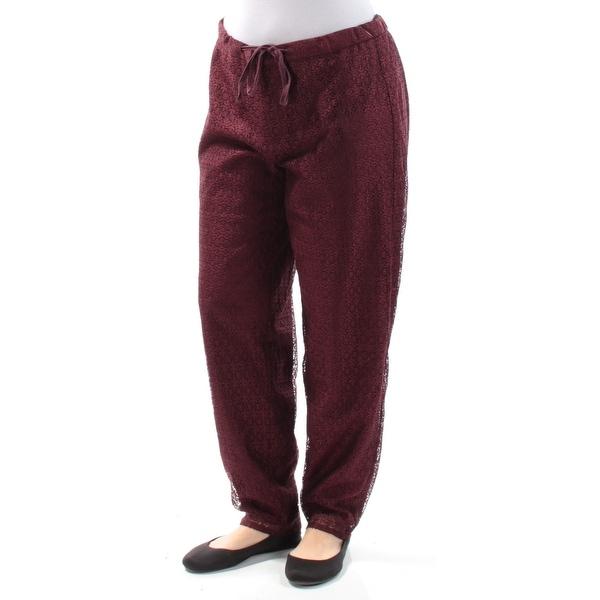ANNE KLEIN Womens Burgundy Lace Straight leg Evening Pants Size: 6