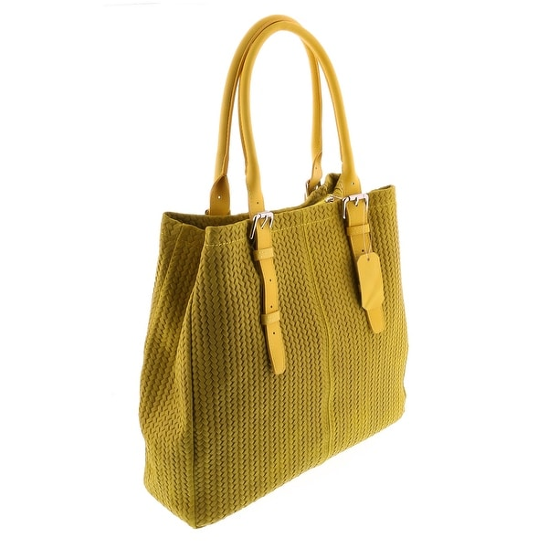 92ffbdefc6 Shop HS Collection HS 2078 GL ASPA Yellow Leather Tote/Shopper Bags ...