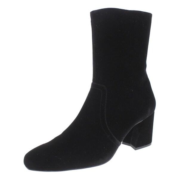 IMNYC Isaac Mizrahi Womens Lynn Ankle Boots Velvet Square Toe