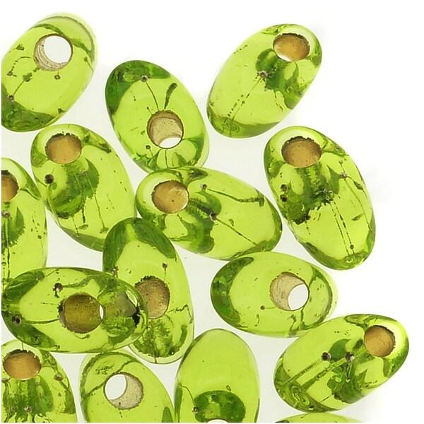 Miyuki Long Magatama Seed Beads 4x7mm - Silver Lined Chartreuse (8.5 Grams)