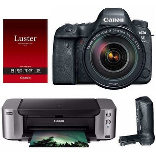 Canon EOS 6D Mark II DSLR Camera with 24-105mm Lens and PIXMA Printer Bundle