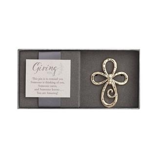 Women's Giving Pin - Scrolled Cross Metal Brooch