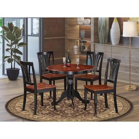 5-piece Round Black and Cherry Kitchen Table Set