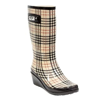 Link to Forever Young Women's Plaid Print Tall Rubber Rain Boots Similar Items in Women's Shoes