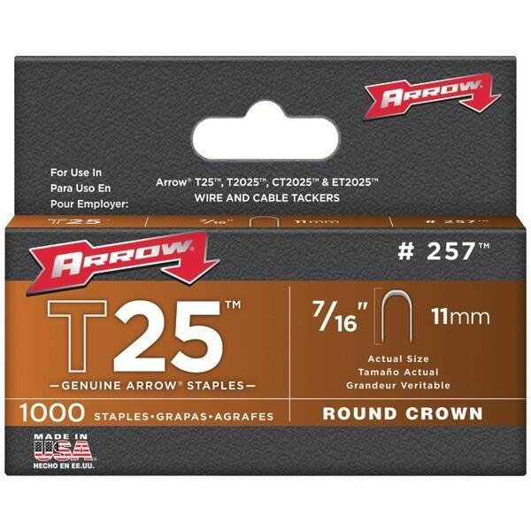"Arrow Fastener 257 T25 Round Crown Staples, 7/16""; 1,000 Pk"