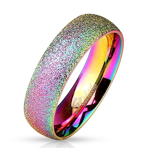 Sand Blast Finish Rainbow IP Stainless Steel Classic Dome Ring (Sold Ind.)