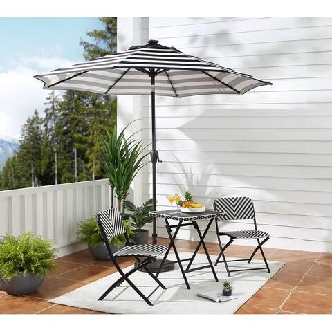 9Ft Patio Cast Aluminum Umbrella with 32 LED Solar Lights