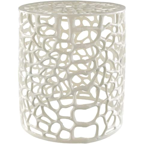 Caiside Wide White Modern Metal Stool