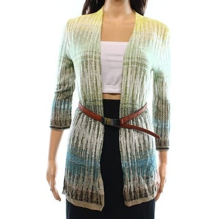 Designer NEW Green Women's Size Medium M Cardigan Knit Belted Sweater