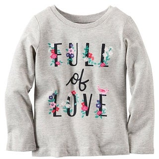 Carters Girls 12-24 Months Long-Sleeve Full of Love Tee - grey