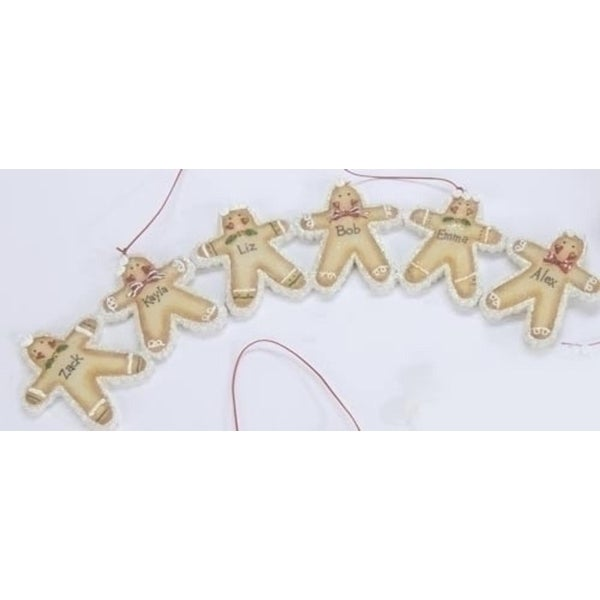 """Set of 6 Gingerbread Family & Friends 11.5"""" Christmas Ornaments Signs #25496 - Beige"""
